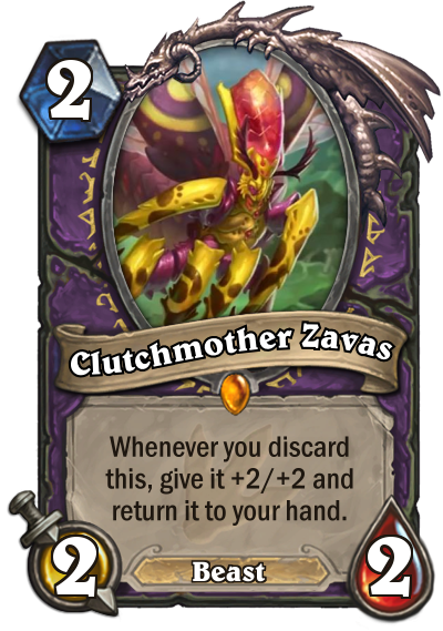 <p>Discard mechanics are all over Journey to Un'Goro's Warlock cards. With so many cards gaining advantages from pitching cards into the graveyard (hi, Lakkari Sacrifice), it's not hard to imagine Discard Warlock becoming a thing. Clutchmother Zavas is poised to be a core element of any deck that loves to discard. </p>