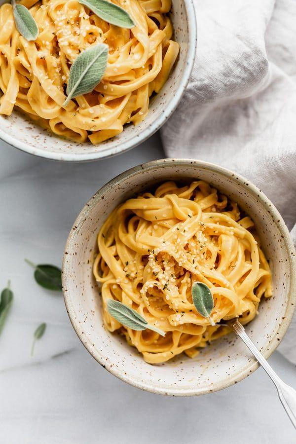 """<p>This creamy, dairy-free pumpkin sauce is delicious on any type of noodle. For a classic Alfredo pairing, stick with fettuccine, but you can also swap in whole wheat pasta, chickpea pasta, or gluten-free pasta. </p><p><strong>Get the recipe at <a href=""""https://choosingchia.com/vegan-pumpkin-alfredo/"""" rel=""""nofollow noopener"""" target=""""_blank"""" data-ylk=""""slk:Choosing Chia"""" class=""""link rapid-noclick-resp"""">Choosing Chia</a>. </strong></p><p><a class=""""link rapid-noclick-resp"""" href=""""https://go.redirectingat.com?id=74968X1596630&url=https%3A%2F%2Fwww.walmart.com%2Fsearch%2F%3Fquery%3Dpioneer%2Bwoman%2Bserving%2Bbowls&sref=https%3A%2F%2Fwww.thepioneerwoman.com%2Ffood-cooking%2Fmeals-menus%2Fg37022645%2Fhealthy-pumpkin-recipes%2F"""" rel=""""nofollow noopener"""" target=""""_blank"""" data-ylk=""""slk:SHOP SERVING BOWLS"""">SHOP SERVING BOWLS</a></p>"""