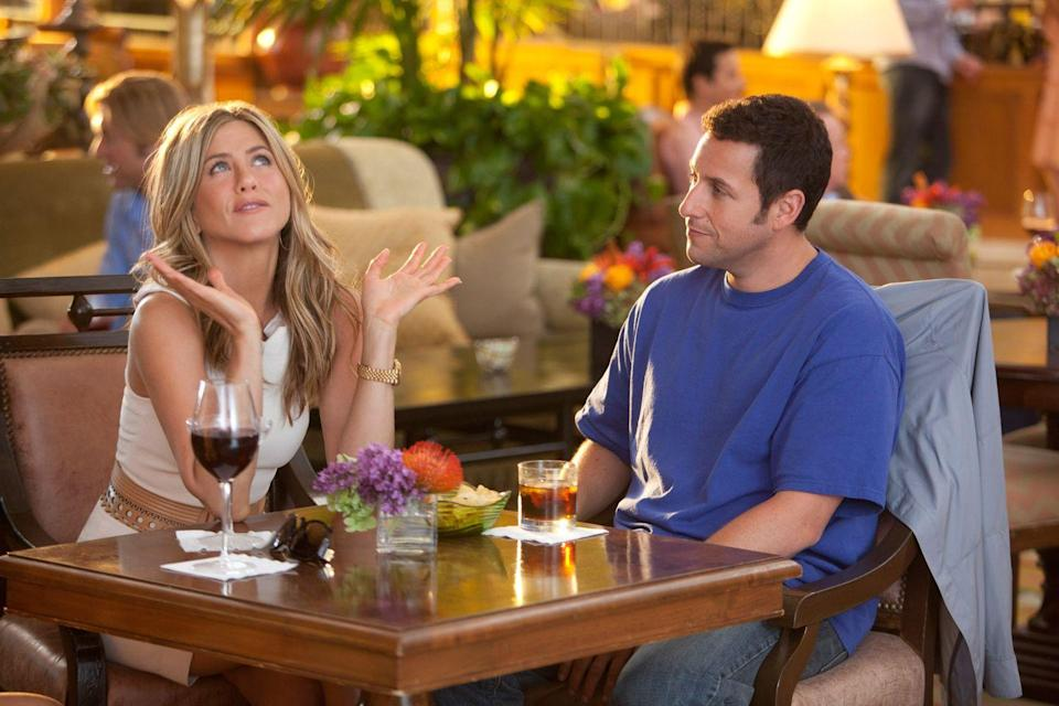 "<p>Drew Barrymore and Adam Sandler may be an iconic duo, but Aniston also makes a perfect comedic foil. Here, she plays the longtime assistant to Sandler's womanizing plastic surgeon. She agrees to pretend to be his soon-to-be-ex wife while on vacation with the woman (Brooklyn Decker) that he's trying to woo. With superb cameos from Nicole Kidman and Dave Matthews, this is one of those delightful background movies. </p><p><a class=""link rapid-noclick-resp"" href=""https://www.amazon.com/Just-Go-Adam-Sandler/dp/B0054NRQ64/ref=sr_1_2?tag=syn-yahoo-20&ascsubtag=%5Bartid%7C10063.g.36311626%5Bsrc%7Cyahoo-us"" rel=""nofollow noopener"" target=""_blank"" data-ylk=""slk:WATCH NOW"">WATCH NOW</a></p>"