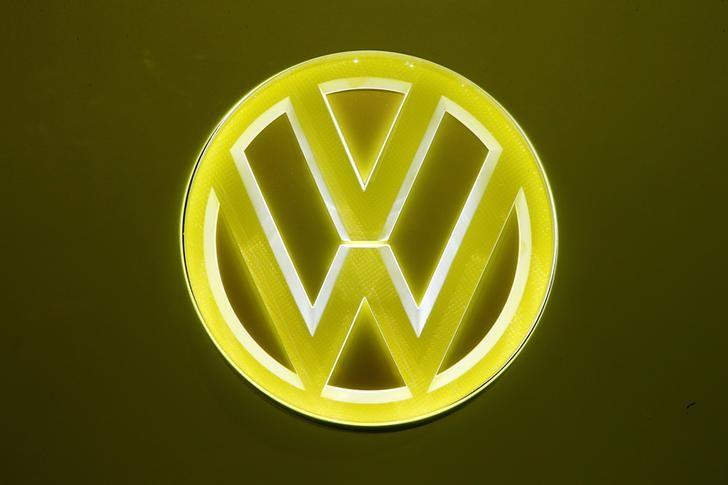 An illuminated logo is seen at a Volkswagen I.D. Buzz concept car during the 87th International Motor Show at Palexpo in Geneva