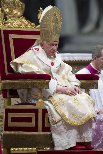 Pope Benedict XVI celebrates a mass in St. Peter's Basilica at the Vatican, Tuesday, Jan. 1, 2013. (AP Photo/Andrew Medichini)