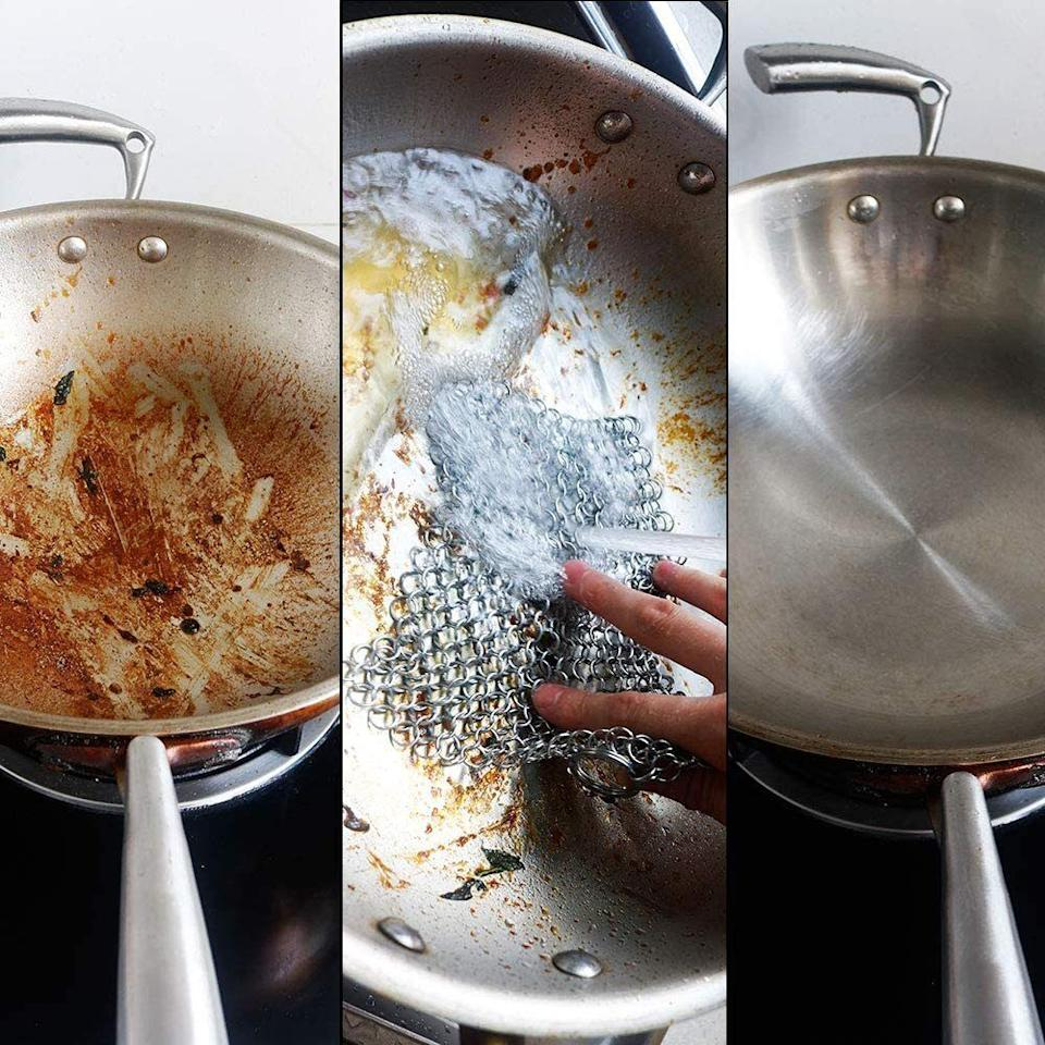 """Now you can effectively clean all of the burned-on grime on your cast-iron skillets without removing the seasoning or causing damage. It's also safe for use on waffle makers, griddles and casserole dishes, so you basically have no excuse for having less-than-immaculate dishes.<strong><br /><br />Promising review:</strong>""""Prior to purchasing this, our cast-iron cleaning routine consisted of rinsing followed by a quick scrub using coarse sea salt and a paper towel. This gadget is great for a more thorough cleaning, especially on stubborn areas.<strong>It's very effective and cleaning is quite easy, requiring nothing more than a quick rinse.</strong>The small ring attached to it is useful for hanging on a pot rack. Recommended."""" —<a href=""""https://amzn.to/3fYkI26"""" target=""""_blank"""" rel=""""nofollow noopener noreferrer"""" data-skimlinks-tracking=""""5892474"""" data-vars-affiliate=""""Amazon"""" data-vars-href=""""https://www.amazon.com/gp/customer-reviews/RNSVD8Z998U55?tag=bfdaniel-20&ascsubtag=5892474%2C10%2C33%2Cmobile_web%2C0%2C0%2C16507739"""" data-vars-keywords=""""cleaning"""" data-vars-link-id=""""16507739"""" data-vars-price="""""""" data-vars-product-id=""""20970420"""" data-vars-product-img="""""""" data-vars-product-title="""""""" data-vars-retailers=""""Amazon"""">Cooking the Books<br /><br /></a><strong>Get it from Amazon for<a href=""""https://amzn.to/2PPd3s6"""" target=""""_blank"""" rel=""""nofollow noopener noreferrer"""" data-skimlinks-tracking=""""5892474"""" data-vars-affiliate=""""Amazon"""" data-vars-asin=""""B07QGC4X4Y"""" data-vars-href=""""https://www.amazon.com/dp/B07QGC4X4Y?tag=bfdaniel-20&ascsubtag=5892474%2C10%2C33%2Cmobile_web%2C0%2C0%2C16507730"""" data-vars-keywords=""""cleaning"""" data-vars-link-id=""""16507730"""" data-vars-price="""""""" data-vars-product-id=""""18234132"""" data-vars-product-img=""""https://m.media-amazon.com/images/I/51JozJ0SHyL.jpg"""" data-vars-product-title=""""Cast Iron Cleaner 6"""" x 6.3"""" Premium 316L Stainless Steel Chainmail Scrubber for Skillet, Wok, Pot, Pan; Pre-Seasoned Pan Dutch Ovens Waffle Iron Pans Scraper Cast"""" data-vars-retailers=""""Amazon"""">"""