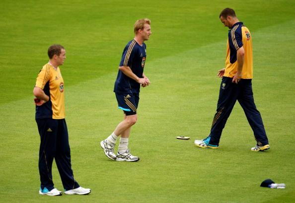 LEEDS, ENGLAND - AUGUST 05: (L-R) Peter Siddle, Brett Lee and Stuart Clark of Australia in action during the Australia nets session at the Headingley Carnegie Stadium ahead of the 4th Ashes Test on August 5, 2009 in Leeds, England. (Photo by Richard Heathcote/Getty Images)