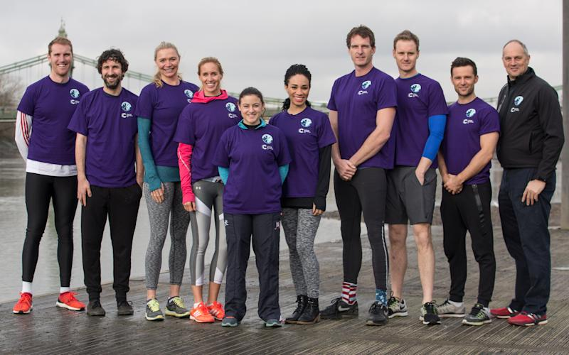 Team Redgrave, from left: George Nash, Mark Watson, Jodie Kidd, Helen Glover, Zoe de Toledo, Michelle Ackerley, Dan Snow, Dan Walker, Harry Judd and Sir Steve Redgrave - Credit: PH