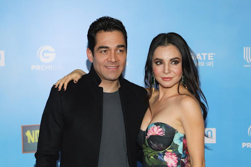 "MEXICO CITY, MEXICO - APRIL 09: Omar Chaparro and Martha Higareda attend ""No Manches Frida 2"" Mexico City premiere red carpet at Cinepolis Plaza Universidad on April 9, 2019 in Mexico City, Mexico. (Photo by Victor Chavez/Getty Images)"