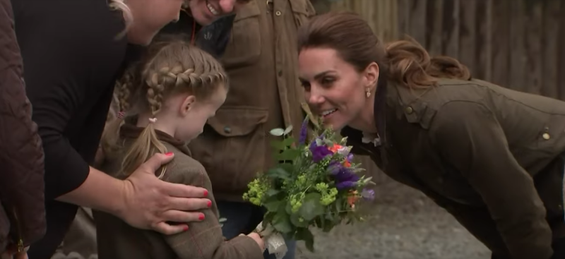 Kate Middleton shared a touching moment with a young fan during an appearance in Keswick, Cumbria on Tuesday.