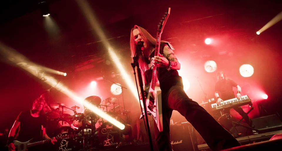 BERLIN, GERMANY - MARCH 27: Singer Alexi Laiho of the Finnish band Children of Bodom performs live during a concert at the Astra on March 27, 2017 in Berlin, Germany. (Photo by Frank Hoensch/Redferns)