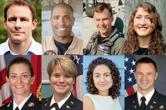 """NASA new astronaut candidates (from top left to bottom right): Josh Cassada, Victor Glover, Tyler """"Nick"""" Hague, Christina Hammock, Nicole Mann, Anne McClain, Jessica Meir and Andrew Morgan."""