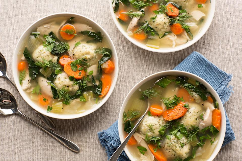 "Enliven traditional chicken soup with springy fennel and a dose of fresh green kale. Dill-flecked matzo balls add an excellent layer of flavor and texture. <a href=""https://www.epicurious.com/recipes/food/views/green-chicken-soup-with-dill-matzo-balls-56389344?mbid=synd_yahoo_rss"" rel=""nofollow noopener"" target=""_blank"" data-ylk=""slk:See recipe."" class=""link rapid-noclick-resp"">See recipe.</a>"