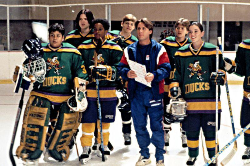 Emilio Estevez as the coach of a Pee-Wee ice hockey team in 'The Mighty Ducks'. (Credit: Disney)