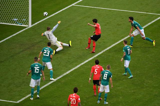 South Korea stunned Germany to eliminate the defending champs from the 2018 World Cup. (Getty)