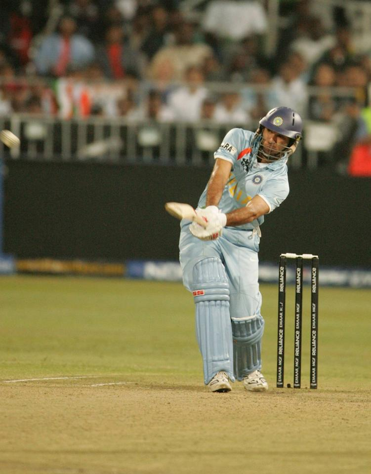 DURBAN, SOUTH AFRICA - 19 September:  Yuvraj Singh of India hits six sixes off Stuart Broad of England in one over for his 58 runs off 16 balls during the ICC Twenty20 Cricket World Championship Super Eights match between England and India at Kingsmead on September 19, 2007 in Durban, South Africa.   (Photo by Duif du Toit/Gallo Images/Getty Images)