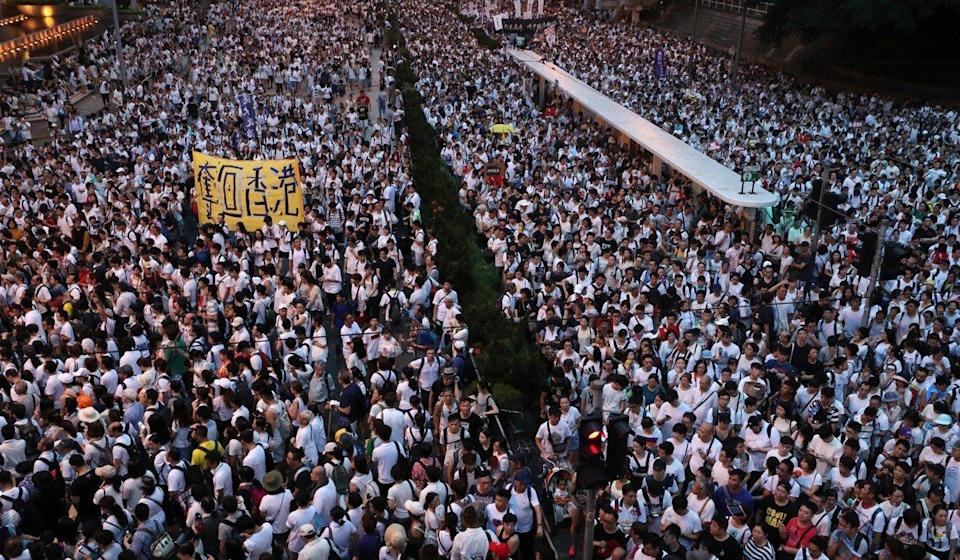 Protesters march from Causeway Bay to government headquarters in Admiralty, in protest against the extradition bill, in June 2019. Photo: Sam Tsang