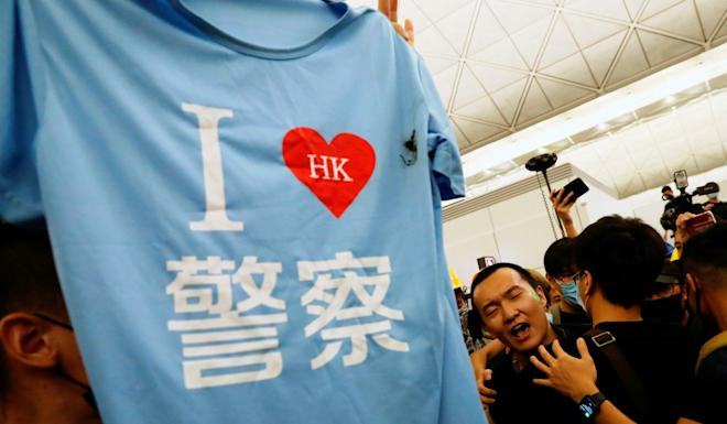 The light-blue T-shirt found in Fu Guohao's bag. Photo: Reuters