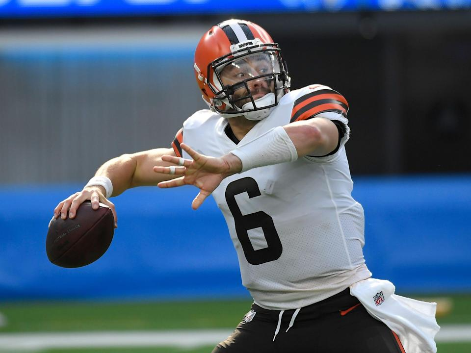 Baker Mayfield makes a throw against the Los Angeles Chargers.