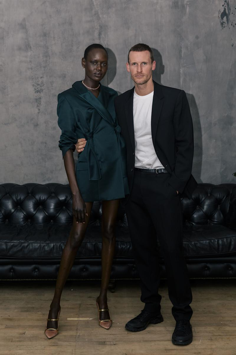 Ajak Deng and Dion Lee attend Dion Lee and The Woolmark Company Celebrate Dion Lee [SUIT] Portrait Series.