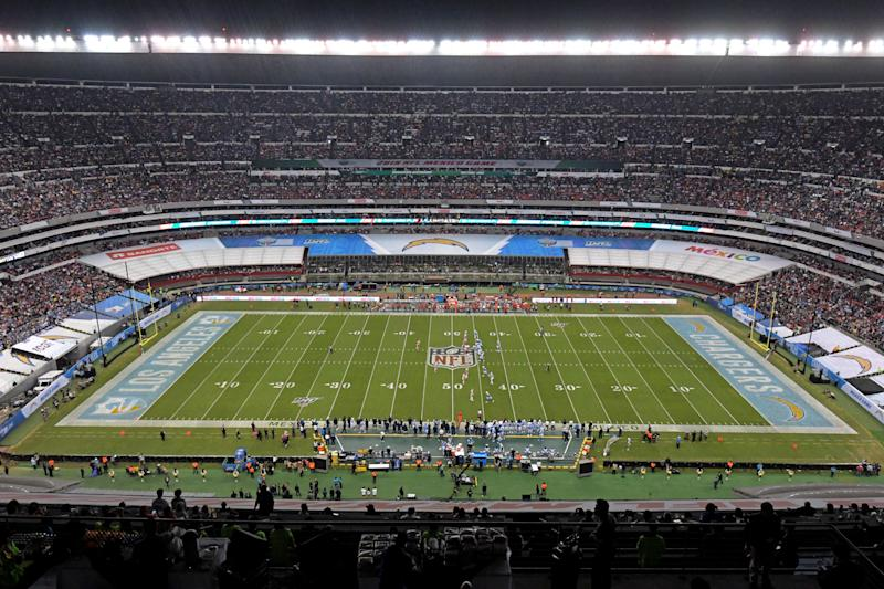 A year after turf problems forced a game to be moved, Estadio Azteca still doesn't look ready for NFL football. (Kirby Lee-USA Today)