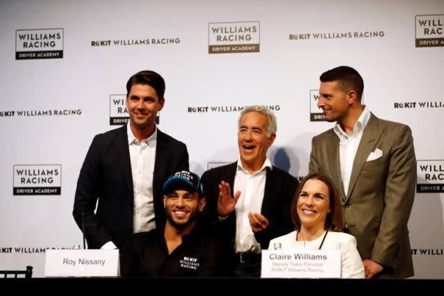 Israeli racing driver Roy Nissany holds a news conference after signing with British Formula One motor racing team Williams in Tel Aviv