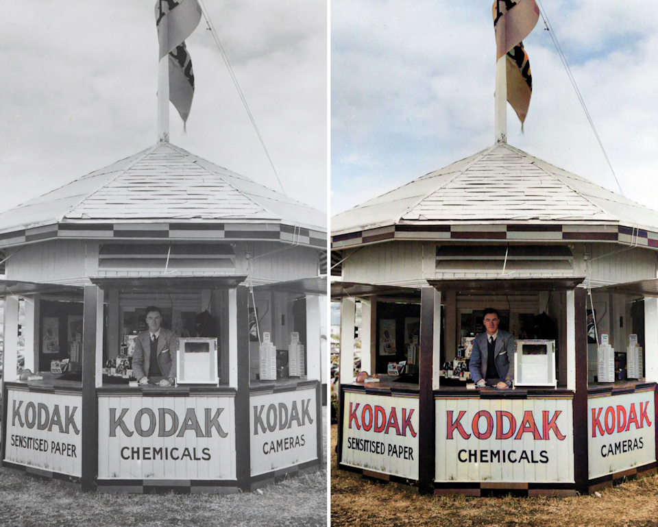"""<span class=""""caption"""">The left photo shows a Kodak booth in Australia in the 1930s. The right photo is it colourized using the software program DeOldify.</span> <span class=""""attribution""""><span class=""""source"""">(Museums Victoria/Unsplash, DeOldify)</span></span>"""