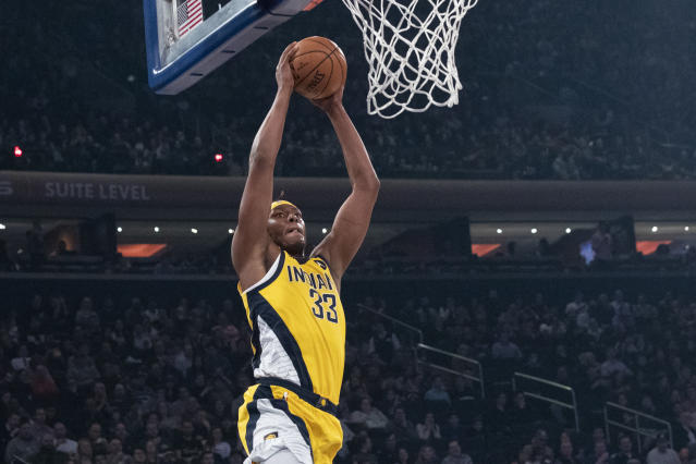 Indiana Pacers center Myles Turner goes to the basket in the first half of an NBA basketball game against the New York Knicks, Friday, Feb. 21, 2020, at Madison Square Garden in New York. (AP Photo/Mary Altaffer)