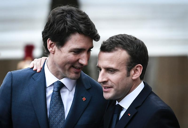 French President Emmanuel Macron (R) and Canada's Justin Trudeau see each other as natural liberal allies in a world increasingly shaped by right-wing nationalism