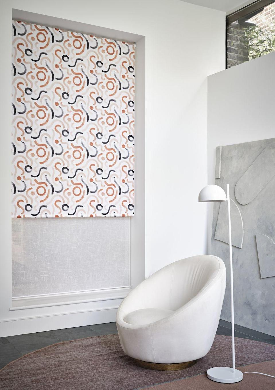 "<p>Speaking of layering, Namah Mist and Doodle Jaffa have both been used here for a tailored look. Doodle Jaffa is a fun, fresh fabric that's a little bit retro. The thick, swirly watercolour effect brushstrokes in tonal orange and grey will bring an energised quality to a room for an instant uplift. </p><p><a class=""link rapid-noclick-resp"" href=""https://www.hillarys.co.uk/products/doodle-jaffa-roller-blind/"" rel=""nofollow noopener"" target=""_blank"" data-ylk=""slk:Order a sample and request an appointment"">Order a sample and request an appointment</a></p>"