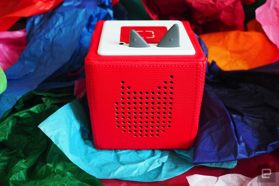 Red Toniebox on colored tissue paper