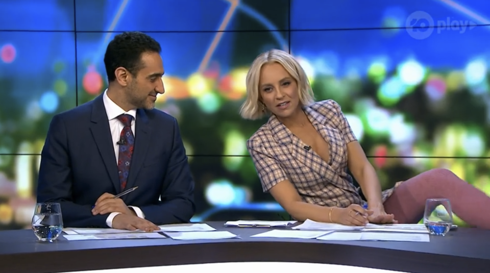 Carrie Bickmore wears pink leggings on The Project