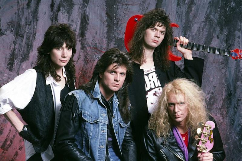 (from left) Eric Martin, Pat Torpey, Paul Gilbert and Billy Sheehan of Mr. Big in 1989