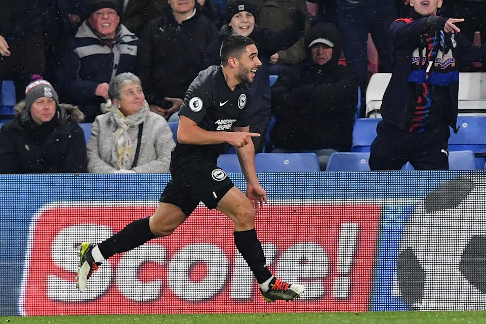 Brighton's French striker Neal Maupay celebrates giving Brighton the lead. (Photo by Ben STANSALL / AFP)