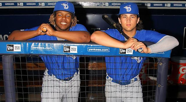 Blue Jays prospects Vladimir Guerrero Jr. and Bo Bichette are ready for prime time, according to Marcus Stroman. (Cliff Welch/Icon Sportswire via Getty Images)