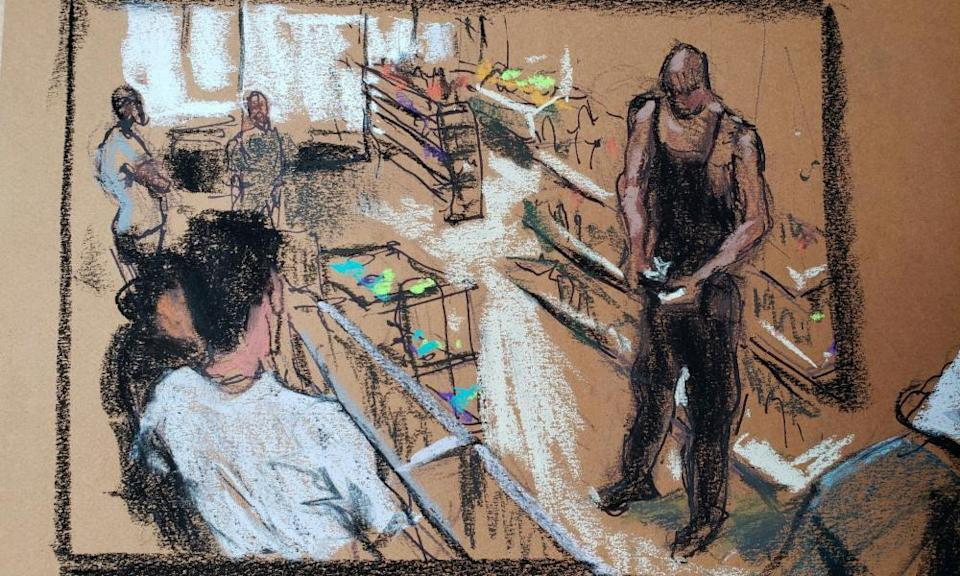 A courtroom sketch shows store surveillance video of George Floyd counting money at Cup Foods.