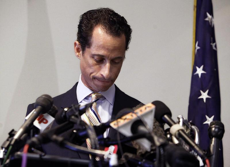 "FILE - In a Thursday, June 16, 2011 photo, U.S. Rep. Anthony Weiner announces his resignation from Congress, in the Brooklyn borough of New York. Former New York state Rep. Weiner has returned to the forum that led to his political downfall in 2011, launching a new Twitter account. Weiner's first post Monday, April 22, 2013 was decidedly not racy: a link to a 20-page policy statement outlining ""64 Ideas to keep New York City the Capital of the Middle Class.""   (AP Photo/Richard Drew, File)"
