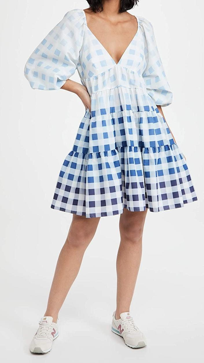 <p>There's so much to love about this <span>Staud Mini Meadow Dress</span> ($335): the electric color gradients, dramatic puff sleeves, tasteful neckline, and relaxed silhouette.</p>