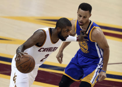 Curry, right, has struggled with Kyrie Irving and the Cavs' physical play. (AP)