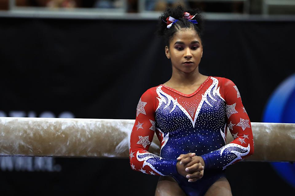 <p>When Jordan finished 11th at U.S. Nationals in 2017, she considered retiring from elite gymnastics to attend UCLA. According to a New York Times article, Simone Biles reached out to her and asked her to train with her. Thankfully Jordan decided to keep going because now she's competing in Tokyo. (Photo by Sean M. Haffey/Getty Images)</p>