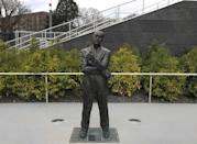 "<p>The statue of <a href=""https://www.runnersworld.com/runners-stories/a20798056/pre-me/"" rel=""nofollow noopener"" target=""_blank"" data-ylk=""slk:Bill Bowerman"" class=""link rapid-noclick-resp"">Bill Bowerman</a>, the Oregon coach from 1948–72, used to reside at the top of the final straightaway. It has been moved to the 200-meter mark in the updated Hayward Field. </p>"
