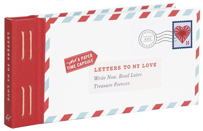 <p>Pour your heart out into 12 fold-and-mail letters for your significant other to open all at once. </p> <p><span>Letters to My Love: Write Now. Read Later. Treasure Forever.</span> ($13)</p>
