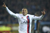 PSG's Kylian Mbappe jubilates after scoring during a Champions League Group A soccer match between Club Brugge and Paris Saint Germain at the Jan Breydel stadium in Bruges, Belgium, Tuesday, Oct. 22, 2019. (AP Photo/Francisco Seco)