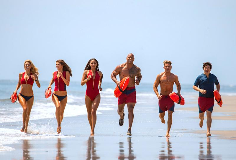 The cast of Baywatch do a slow-mo run. (Paramount)
