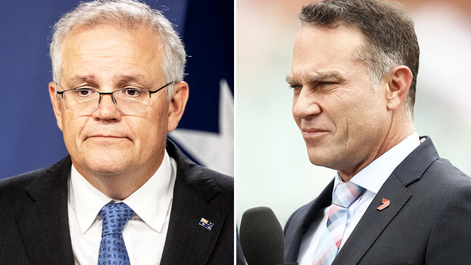 Michael Slater and Scott Morrison, pictured here talking to the media.