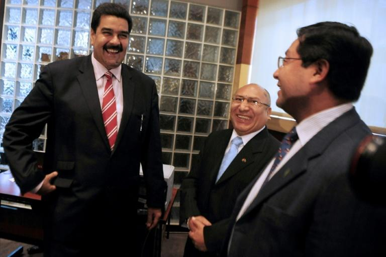 Nicolas Maduro (left) and Luis Arce (right) took part at a regional conference in Lima in 2011 before either was elected president