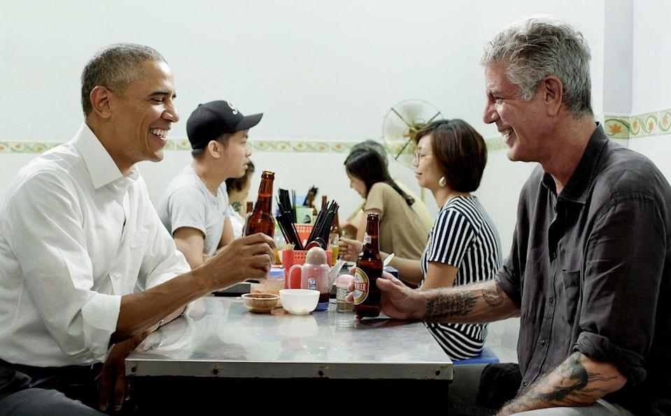 <p>During an episode of <em>Parts Unknown</em> filmed in Vietnam, Bourdain ate a meal with then-President Barack Obama on May 23, 2016.</p>