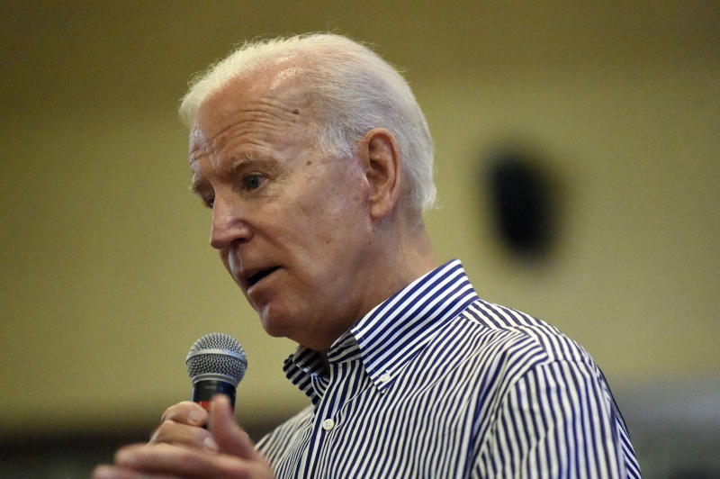 Former Vice President Joe Biden speaks, Wednesday, Aug. 28, 2019, at a town hall for his Democratic presidential campaign in Spartanburg, S.C. (AP Photo/Meg Kinnard)