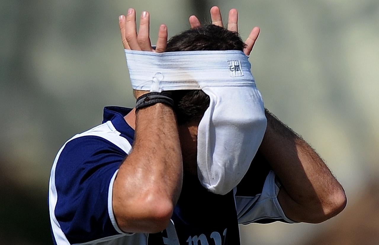 Netherlands cricketer Ryan Ten Doeschate wears his jockstrap during a training session at the Punjab Cricket Association (PCA) Stadium in Mohali on March 2, 2011. The Netherlands are scheduled to play South Africa in their latest Cricket World Cup match on March 3. AFP PHOTO/MANAN VATSYAYANA (Photo credit should read MANAN VATSYAYANA/AFP/Getty Images)