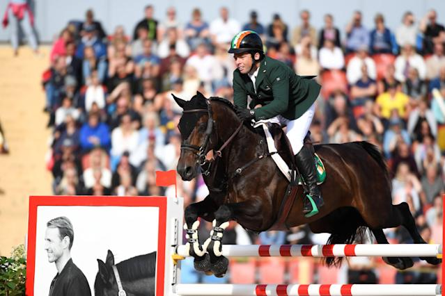 Equestrian - FEI European Championships 2017 - Jumping Individual Final - Ullevi Stadium, Gothenburg, Sweden - August 27, 2017 - Cian O'Connor of Ireland on his horse Good Luck jumps. TT News Agency/Pontus Lundahl via REUTERS ATTENTION EDITORS - THIS IMAGE WAS PROVIDED BY A THIRD PARTY. SWEDEN OUT. NO COMMERCIAL OR EDITORIAL SALES IN SWEDEN