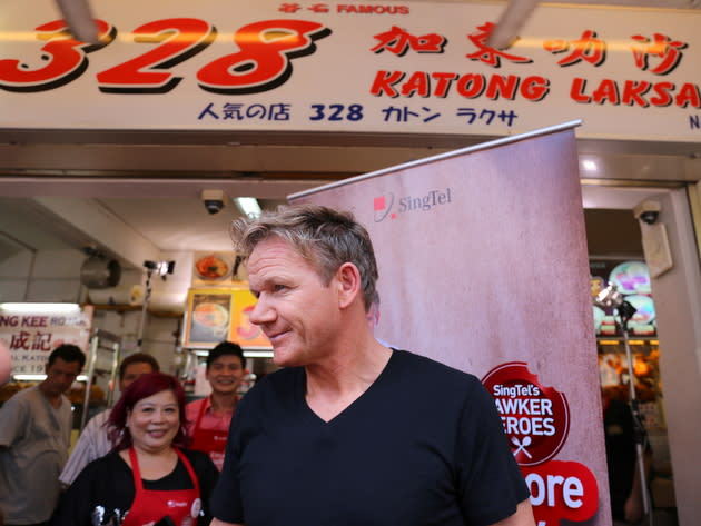 Gordon Ramsay visited 328 Katong Laksa on 6 July 2013. (Yahoo! photo/Catherine Ling)