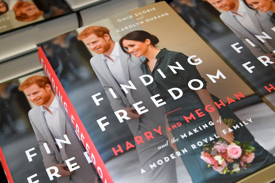Copies of 'Finding Freedom', an unofficial biography on Prince Harry and Meghan Markle, the Duke and Duchess of Sussex, are seen on display at a Waterstones bookshop in London, Britain August 12, 2020. REUTERS/Toby Melville