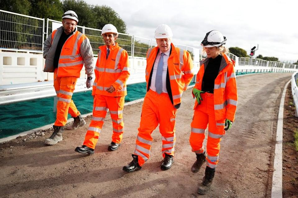 Prime Minister Boris Johnson and Chancellor Rishi Sunak during a visit to a construction site in Manchester (Phil Noble/PA) (PA Wire)