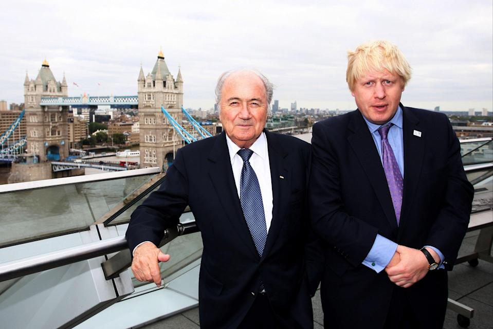 Boris Johnson and Sepp Blatter in 2010 ahead of England's doomed World Cup bidGetty Images